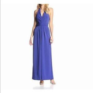 Halston Heritage royal blue halter gown